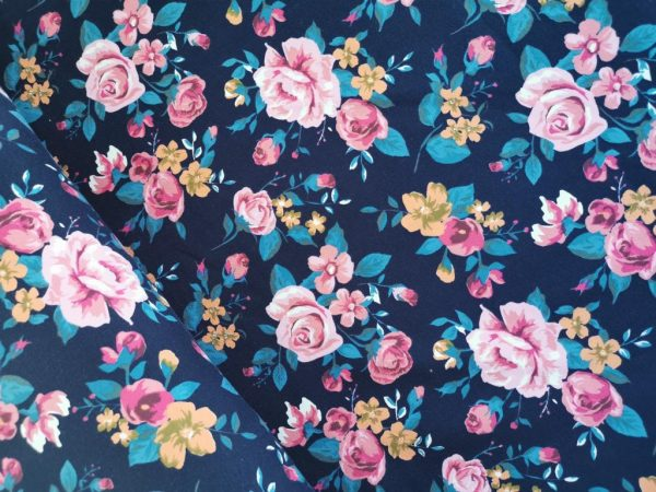 Sommersweat French Terry Rosen Blüten Rose Marine Blau Petrol Lachs